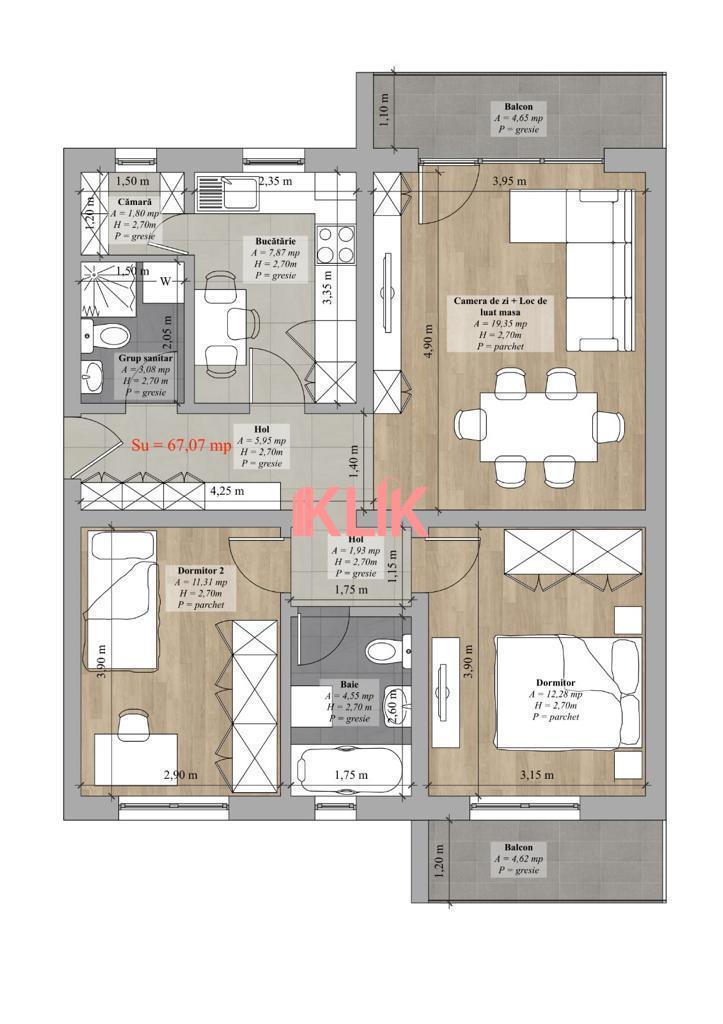 Apartament cu 3 camere decomandat, 67 mp utili+ parcare cu CF!