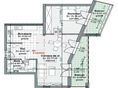 Apartament 2 camere bloc nou zona Centrala