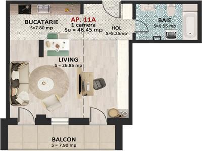 Apartament cu 1 camera, etaj 1, 45 mp, in Marasti !