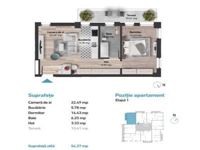 Apartament cu 2 camere in Zorilor, 54 mp, zona Golden Tulip!