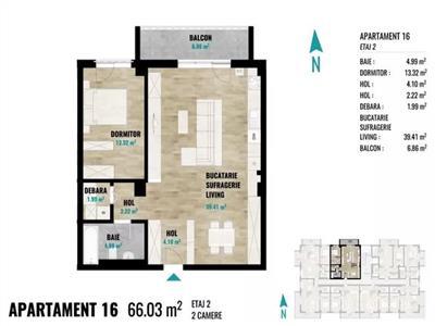 Apartament cu 2 camere, 66mp+balcon, etaj 2 in Zorilor !