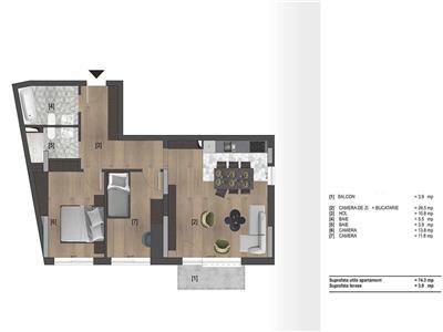 Apartament cu 3 camere constructie noua cu CF in zona Piata 1 Mai