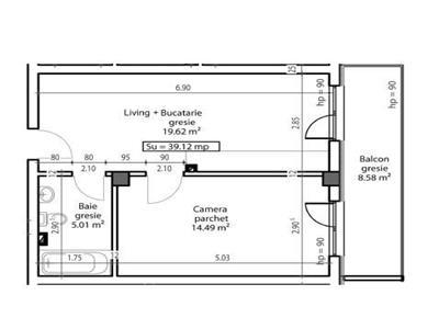 Apartament 1 camera semifinisat cu parcare
