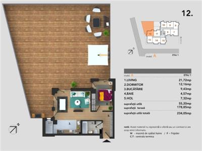 Apartament cu 2 camere decomandate + terasa de 179 mp in Buna Ziua !