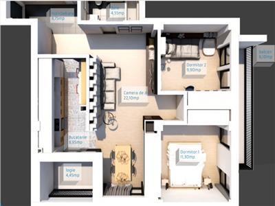 Apartament semifinisat cu 3 camere in bloc nou